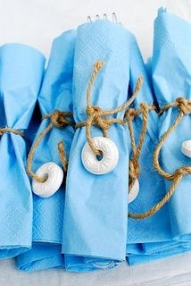 Pool party decorations, life preserver, rope on silverware can go with luau or under the sea theme also