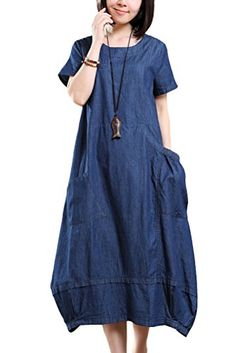 Mordenmiss Womens Round Neckline Denim Baggy Travel Dress with Side Pockets Medium Style 2Short Sleeve Blue -- Read more  at the image link.