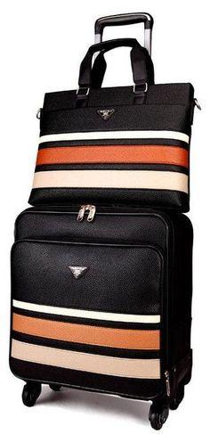 30fbe74c06d8 Leather Spinner Suitcase+Handbag Set Men Luggage Set with Stripes. Mens  LuggageLuggage SetsTravel LuggageTravel BagsSuitcase ...