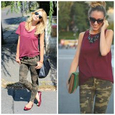 Switch for a green shirt  CAMO pants with oxblood! --SO interesting that this is a thing for fall!