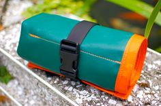 Mega Bike Tool Roll Green with Orange Trim by soulrun on Etsy