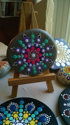 Beach Stone ~ Teal and Pink Mandala ~ Hand Painted by Miranda Pitrone ~ dot art / pointillism / fairy garden by P4MirandaPitrone on Etsy