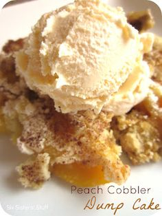 Peach Cobbler Dump Cake- Only 4 ingredients!Peach Cobbler Dump Cake Recipe: Ingredients: 2 ounce) cans peaches in heavy syrup 1 ounce) package yellow cake mix cup butter teaspoon ground cinnamon, or to taste Easy Desserts, Delicious Desserts, Yummy Food, Yellow Desserts, Layered Desserts, Dump Cake Recipes, Dessert Recipes, Dump Cakes, Quick Dessert