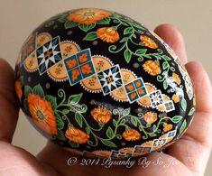 Made To Order Peach Floral Pysanka Ukrainian Easter Egg Pysanky by SoJeo Batik Art EBSQ Plus