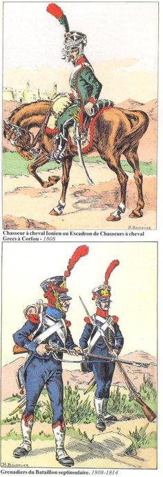 -Chasseur à cheval Ionien ou Escadron de Chasseurs à cheval Grecs à corfou 1808 -Grenadiers du bataillon septinsulaire 1808-14