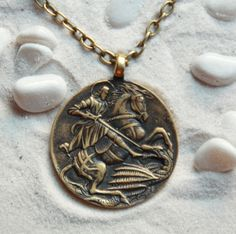 St.George the Victorious: Bronze Handmade Pendant with chain by MagicBronze on Etsy