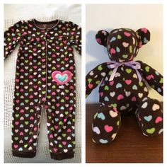 Sleeper Bear! I created this memory bear using a size 24 month sleeper. Order your's today!!!