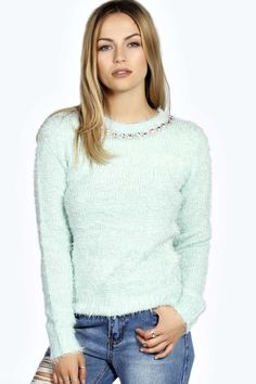 Designer Clothes, Shoes & Bags for Women Green Sweater, Cropped Sweater, Green Jumpers, Green Tops, Boohoo, Cardigans, Sweaters, Turtle Neck, Jewels