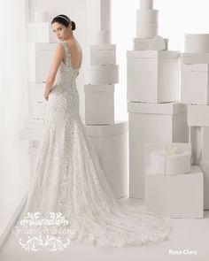 Rosa Clara Bridal  One-Shoulder Lace Wedding Dress with Beaded Strap f8e573d6b295