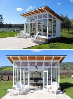 Robert Frear Architects have designed a small and modern potting shed with a sloped roof and lots of windows, that sits next to a garden with raised beds and a chicken coop on a property in Sonoma County, California. Backyard Office, Backyard Studio, Backyard Projects, Backyard Retreat, Backyard Greenhouse, Backyard Sheds, Greenhouse Plans, Garden Sheds, Garden Tools