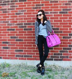Pop of Pink @D D's DISCOUNTS Pink Bag and @David Nilsson Nilsson Ong Ankle Boots #BeautyBrawler