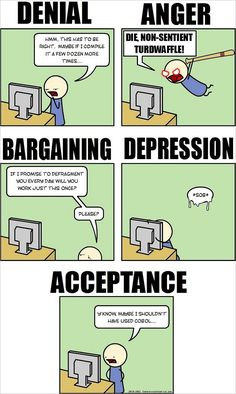 The Five Stages of Programming Grief [Humorous Comic] - How-To Geek