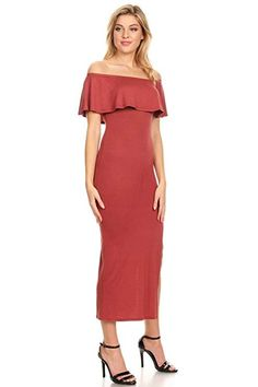 8d493f0081bc Vibe Sportswear Off Shoulder Ruffle Maxi Dress (Small, Darker Marsala) at Amazon  Women's