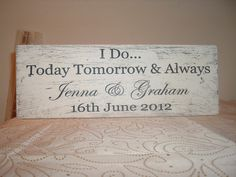 shabby mod n chic distressed wedding names and date plaque sign I Do Wedding Name, Sign I, Big Day, Shabby Chic, Dating, Names, Crafty, Unique Jewelry, Handmade Gifts