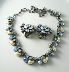 Florenza Moonstone Faux Pearl Blue Ab Rhinestone Necklace Earring Set