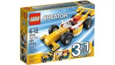 #Lego Creator 31002 Super Racer Ready! Set! Go! #Speed around the circuit in this fast #Super Racer! Win every race with #big slick #wheels, spoilers and a cool aerodynamic shape. Turn the steering wheel and take on tough terrain with real rubber tires! Rebuild this yellow race car into a tough quad bike or speedy go-kart. Our Price: S$16.00 You Save: S$1.90