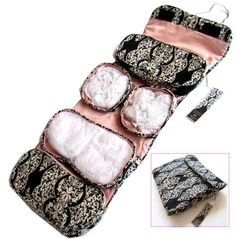 "Toiletry Cosmetics Travel Bag for Women with Hanger (23""x9"") - Pink Black White - Best Cosmetics Organizer Christmas Gift for Women  Price: $19.95"