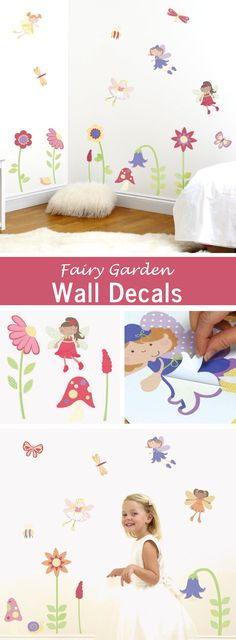 These sweet fairy and flowers wall decals would be an easy way to instantly decorate a little girl's bedroom.