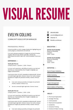 Do you know you can create your visual resume for free? Building visual resume is fun, and it increases your brand. Resume Template Examples, Resume Template Free, Creative Resume Templates, Resume Layout, Resume Design, Server Resume, First Resume, Resume Profile, Visual Resume
