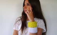 Hand knit bracelets. Knitted jewelry.  Woman by KEENbyAM on Etsy, €18.15