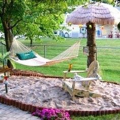 Who said you need to live by a beach to go to one?! #creativebackyards  Let us help you transform your outdoor space into paradise. Call us today!: 407-324-6187  #outdoorfurniture #patiofurniture #backyardfurniture #outdoorlivingspaces