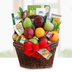 Deluxe Fruit Gift Basket | Includes Meat, Cheese, Nuts, Cookies and Chocolate *** Want to know more, click on the image. (This is an affiliate link) #healthysnackbasket