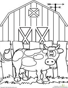 school farm, anim worksheet, worksheets, farm theme, cow coloring page