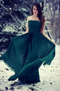 Teal long dress. This entire picture is just beautiful!