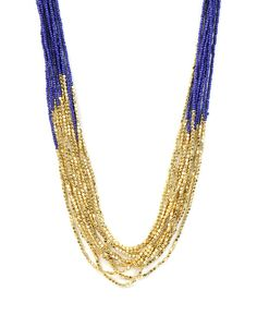 Multi Strand Seed and Gold Bead Necklace