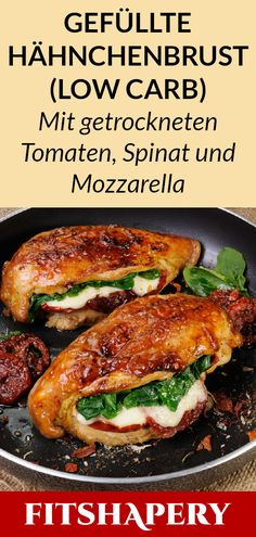 Diese gefüllte Hähnchenbrust ist Low Carb und reich an Eiweiß. Dadurch eignet… This stuffed chicken breast is low carb and high in protein. This makes it perfect for losing weight or for a low carbohydrate diet. Here you will find… Continue Reading → Low Carb Keto, Low Carb Recipes, Diet Recipes, Chicken Recipes, Healthy Recipes, Menu Dieta, Cheese Stuffed Chicken, Low Carbohydrate Diet, Food Inspiration