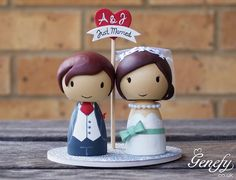 Just Married wedding cake topper -  Bride and Groom