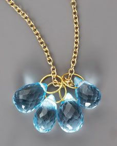 Topaz Teardrop & Gold Chain Necklace