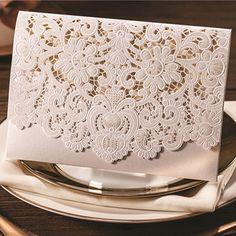 graceful pearl white laser cut pocket envelope wedding invitation EWWS011 as low as $2.09  