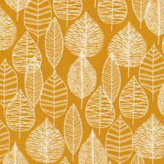 Cloud9 Fabrics - Line Leaf Canvas gelb