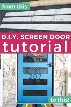 Garden Landscaping Lawn Looking for screen door ideas? Build your own DIY screen door with this amazing tutorial. It's prettier, sturdier and cheaper than what you can find in stores! Front Door With Screen, Wooden Screen Door, Diy Screen Door, Diy Door, Screen Doors, Outdoor Projects, Diy Projects, Project Ideas, House Projects
