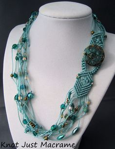 Beaded macrame necklace with button closure - Perfect for Art in the Park day!