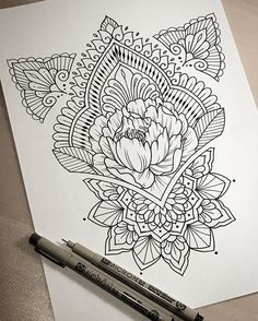 By dominique holmes drawing mandalas arte, dibujos henna, ta Tattoo Sketches, Tattoo Drawings, Body Art Tattoos, Drawing Sketches, Sleeve Tattoos, Sketching, Mandala Design, Henna Designs, Designs To Draw
