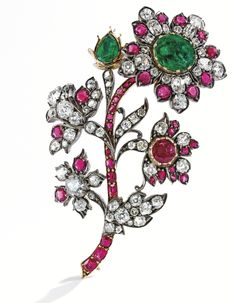 Silver-topped Gold, Ruby, Emerald and Diamond Brooch, mid-19th century. Sotheby's NY Magnificent Jewels, Dec.11, 2013.