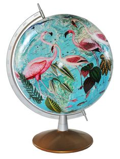 Vintage Turquoise Globe with Decoupaged Flamingos by PrettyTacky1