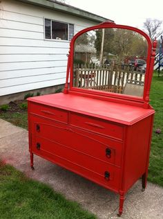 Vintage red sideboard dresser buffet — Fixed price $325  In love! Red, mirror, drawers and size are ideal! Only downfall... it's in Illinois