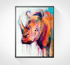 Colorful Rhino watercolor painting print animal por SlaviART, $25.00