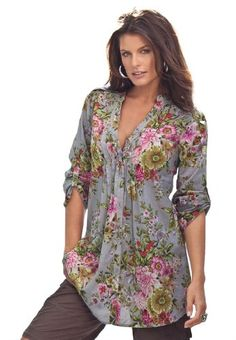 Roamans Women's Plus Size English Floral Bigshirt (Grey,16 W) Roamans,PLUS SIZE FASHION INSPIRATION to buy just click on amazon here http://www.amazon.com/dp/B00794Z7LW/ref=cm_sw_r_pi_dp_1pZxsb1T1YKCPTNH