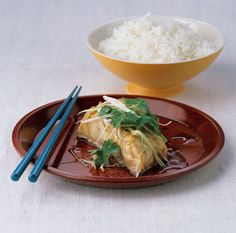 Steamed Striped Bass with Ginger and Scallions from Epicurious.com #myplate #protein