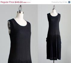 SALE 1990s Vintage Black Rayon Slouchy Maxi Dress / 90s Tunic Sun Dress / Medium