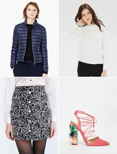 Rock a puffer coat with a pretty skirt this winter.