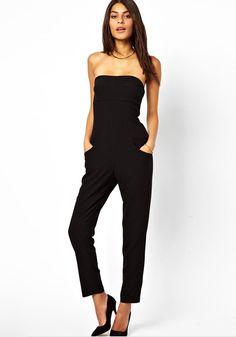 Black Plain Sewing Party Long Jumpsuit
