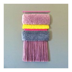 Woven wall hanging / Furry Strawberry Fields // by jujujust, on Etsy