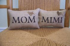Mom pillow or Mimi pillow burlap pillow mini by KelleysCollections