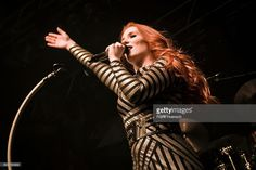 Singer Simone Simons of the Dutch band Epica performs live in support of Powerwolf during a concert at the Huxleys on January 25, 2017 in Berlin, Germany.