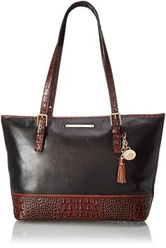 Brahmin Medium Asher Tote Bag, Black/ Tuscan,  One Size -- You can find more details by visiting the image link.